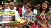 Delhi Congress' Unique Protest Against Vegetable P