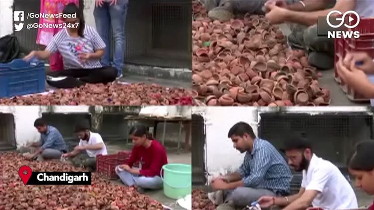 Chandigarh Youths Push For Recycled Diyas This Diw