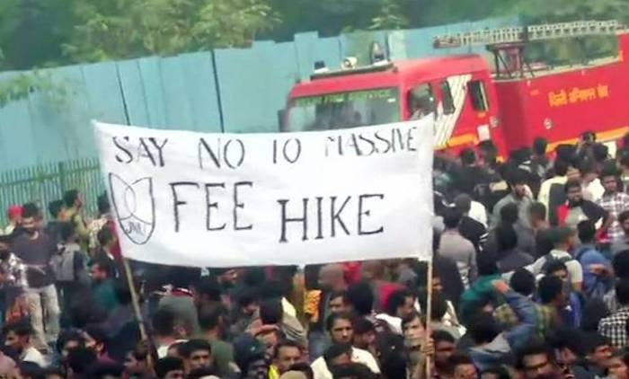JNU students take to the streets of Delhi with the