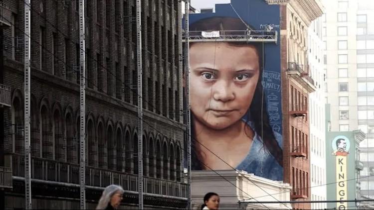 Massive Mural Of Greta Thunberg Stares Down At San