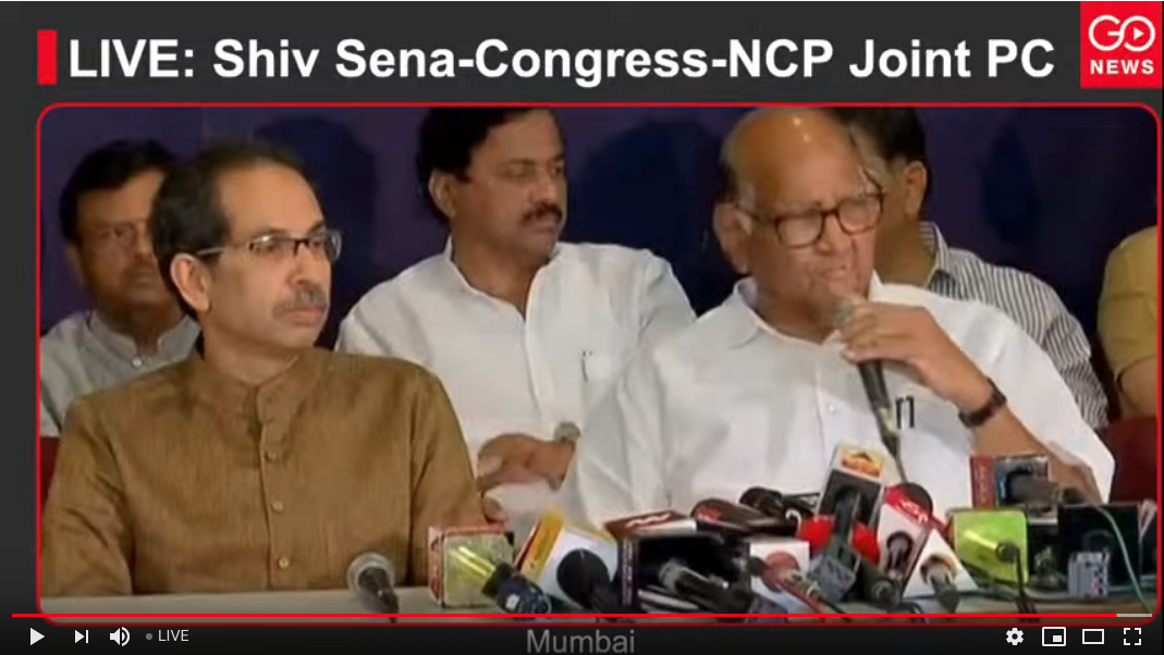LIVE: Shiv Sena-Congress-NCP Joint PC
