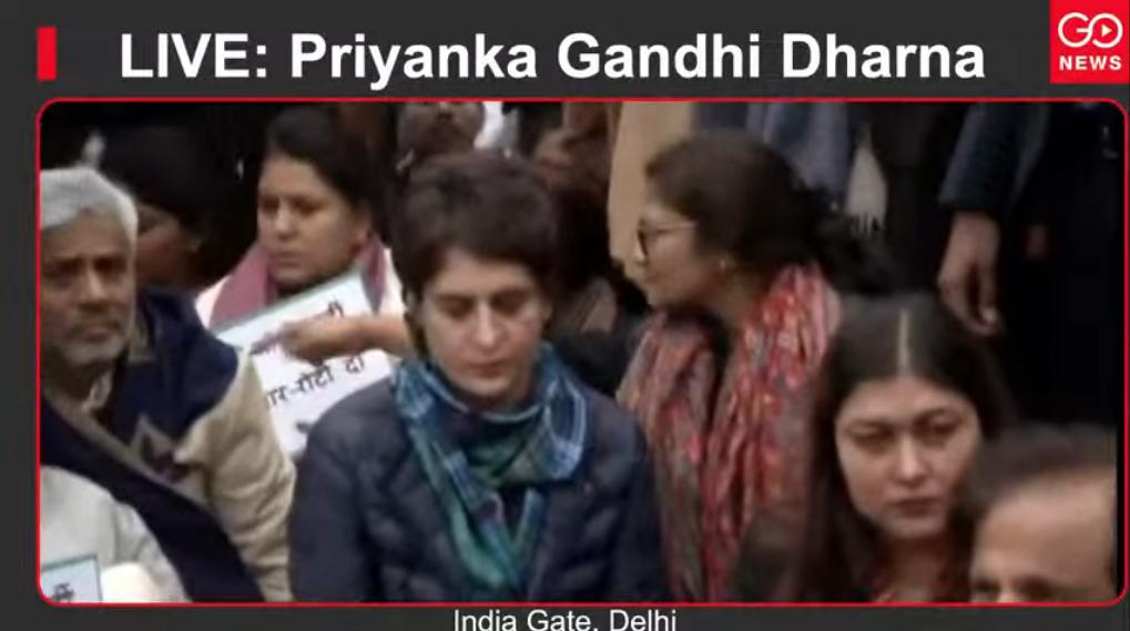 LIVE: Priyanka Gandhi Dharna