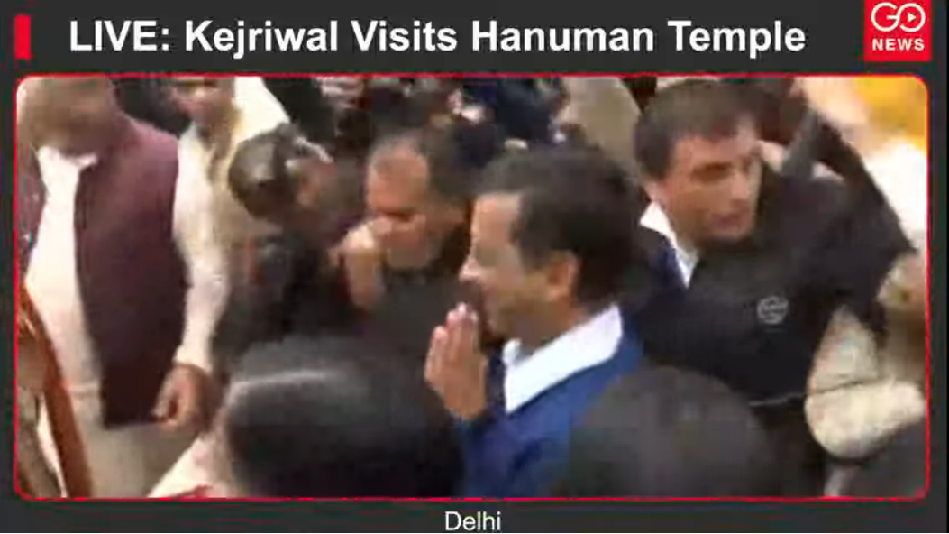LIVE: Kejriwal Visits Hanuman Temple