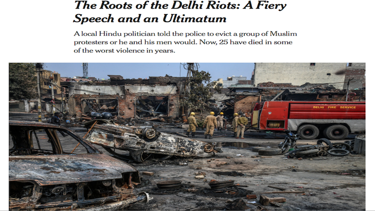World Media Targets BJP Over Delhi Violence