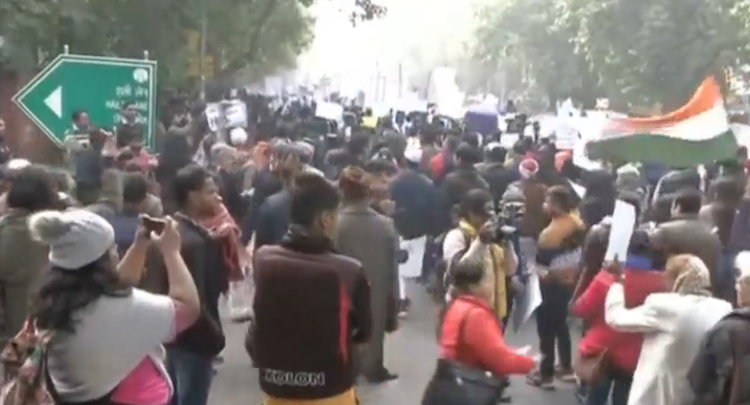 LIVE: People on the street protest against CAA at