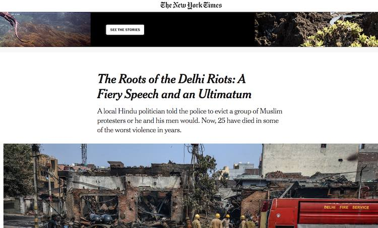 Echoing Delhi violence in Delhi, foreign media sur