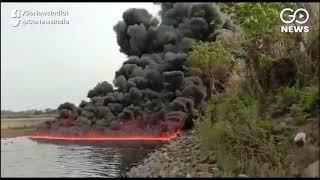 A River On Fire In Assam's Duliajan
