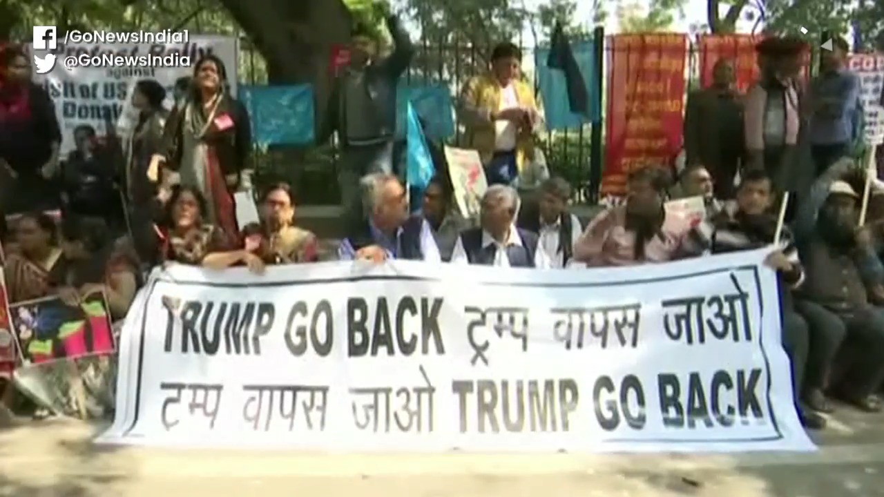 'Trump Go Back' Protests By Left, Labour Unions
