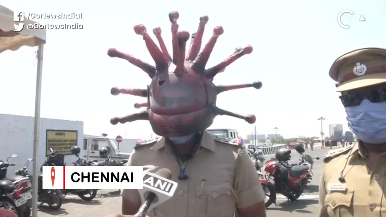 Chennai Cop Flaunts 'Corona Helmet' To Spread Awar