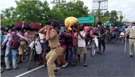 Migrants On Bicycles Lathi-Charged In AP's Guntur