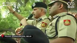Senior Officers Try To Pacify Protesting Delhi Cop