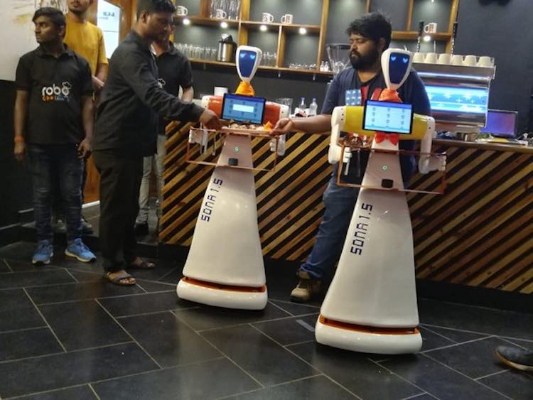 Meet Champa and Jasmine, there are robots who feed