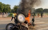 Farm Bill Protest: Tractor Set On Fire At India Ga